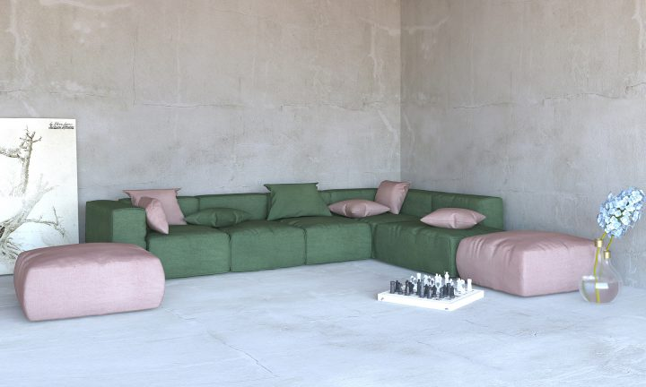 Olivegreen pink blush modular sofa corner Divan Urvission Interiors