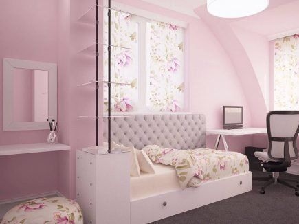Shabby chic girl teen bespoke fitted bedroom - Pink Dream Urvission Interiors