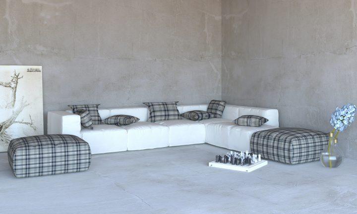 White dark blue modular sofa corner Divan Urvission Interiors