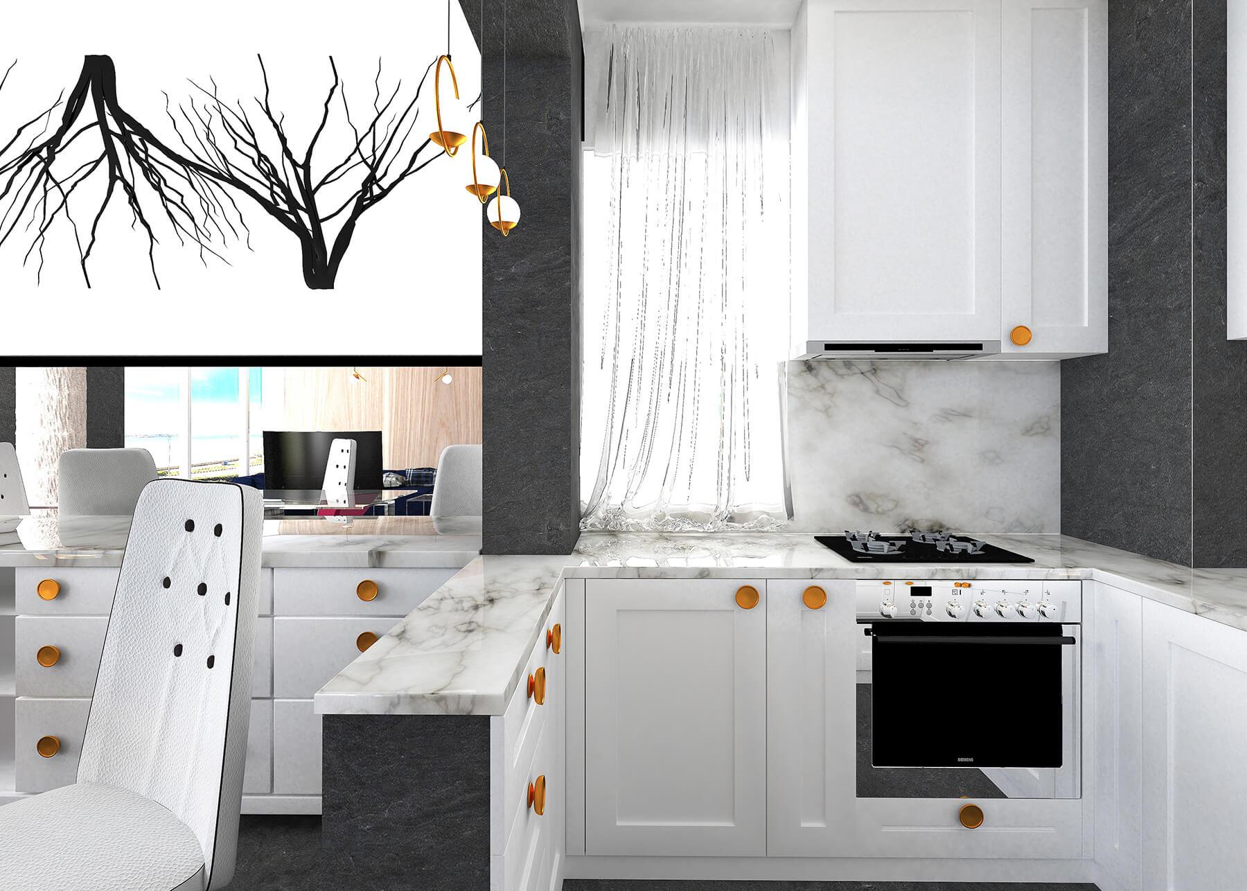 White modern compact U shape open plan brekfast bar fitted kitchen