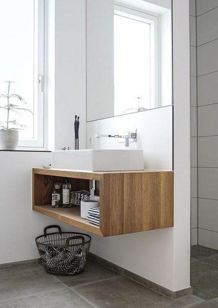 Bespoke natural wood open bathroom wall hung vanity unit Lindo