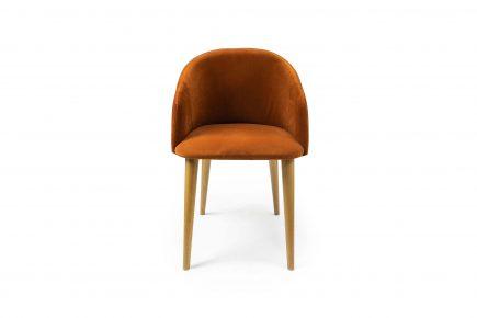 Cosy_orange_velvet_kitchen_chair_Iva_Urvission_Interiors