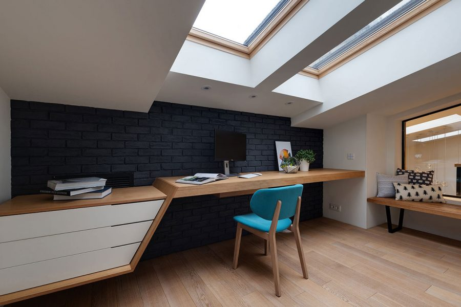 Cosy contemporary home office design by Urvission Interiors
